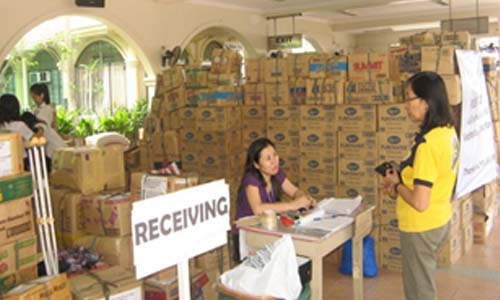 Relief goods were received, packed and re-packed systematically with the aid of students, teachers, parents, and alumnae-volunteers.