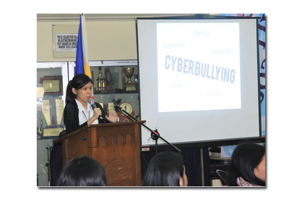 BSIT sophomore Jan Carza shares the results of a study on cyber bullying.