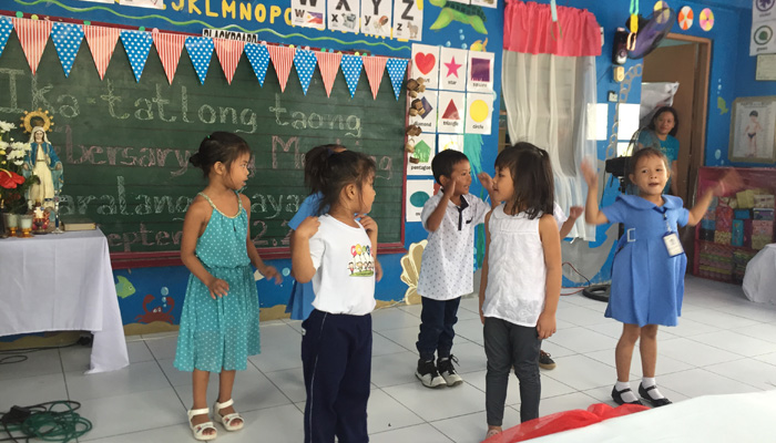 September 2, 2017, Taguig. Students performing during the 3rd Anniversary of the Play and Learn Children's Center
