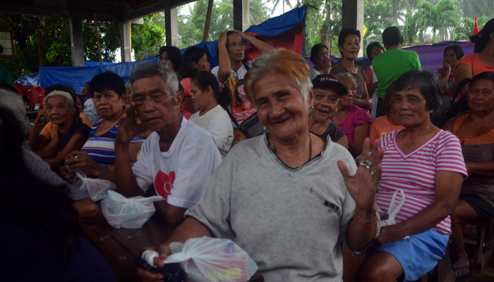 February 20, 2018, Camalig, Albay, senior citizens in the evacuation  center with their merienda