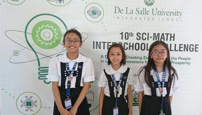Allysa Breanna Canillas, Elisha Therese Marasigan and Sofia Agito bagged first (1st) runner - up for Sci-Math Quiz Bee