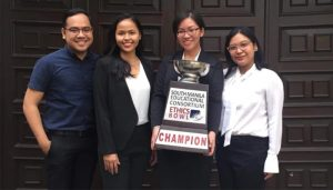 (from left to right) Prof. Zaldy Dueñas III, Alliah Prodigalidad, Maria Gabrielle Crespo, and Dawn Cecilia Peña