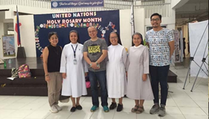 Oct. 22, 2018 Meeting with the sisters of the St. Scholastica's College, Tacloban (in photo from L to R: Becky P. Marquez, Sr. Mikee Manalang, OSB, Dean Ron Romero, Sr. Carmela Mitaran, OSB, Sr. Vida Mones, OSB, Prof. Leo Vergara)