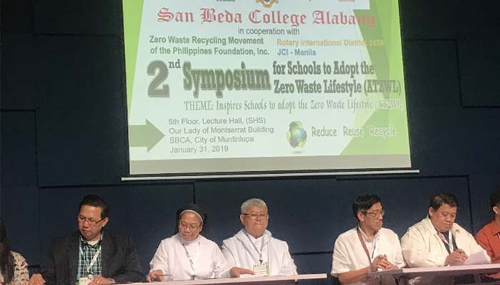 Jan. 31, 2019, Sr. M. Christine Pinto, OSB joins other school heads in the covenant signing to adopt a zero waste management lifestyle in school campuses