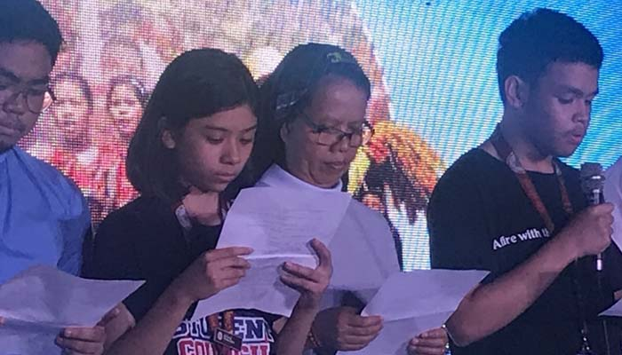 Jan. 25, 2019 Rally by the religious groups calling for peace. Sr. Theodora Bilocura, OSB reads a statement