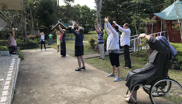 February 16-22, 2019 EDUCAREM doing the Shibashi at the Women Ecology and Wholeness Farm in Mendez, Cavite