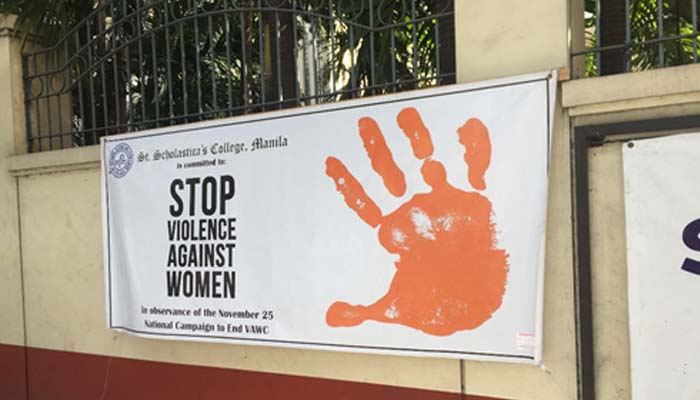 SSC displays Anti VAW tarpaulin along Leon Guinto Street as part of the 16-Day Campaign to End Violence against Women