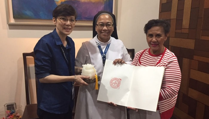 Courtesy call and presentation of the U20 Seal to Sr. M. Christine Pinto, OSB
