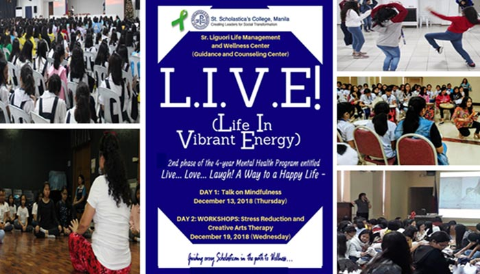 """""""L.I.V.E!  (Life in Vibrant Energy)   2nd phase of the 4-year Mental Health Program entitled: """"Live…Love…Laugh: A Way to a Happy Life"""" for Grades 5-12  Dec. 13 & 19, 2018"""