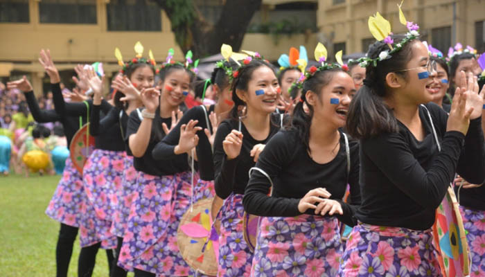 Students of 10-Life bond in laughter and dance as they present the Pahiyas Festival of the Quezon province during Community Day last December 9 at the school grounds.